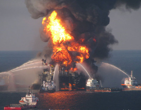 An American Oil Platform in Gulf of Mexico Exploded